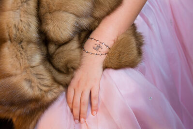 Lauren Greenfield, 'Elizabeth, 15, daughter of a Russian shipping magnate, Moscow. Dressed to appear in the Tatler Debutante Ball, she wears a temporary tattoo in honor of Chanel, Ed 1/5', 2012
