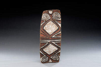 Oceanic Art, 'Old New Guinea Wooden Fighting Shield, Oceanic Art, New Guinea Art, Tribal Art', early 20th century