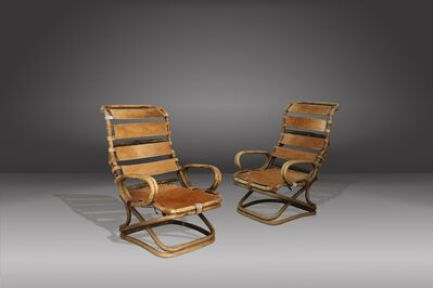 Tito Agnoli, 'Pair of armchairs by Tito Agnoli for Bonacina in ratan and horse horse skin', ca. 1963