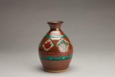 Tomoo Hamada, 'Vase, kaki glaze with akae decoration'