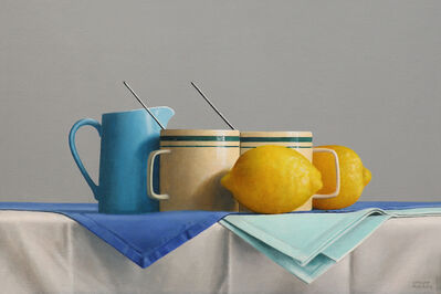 Janet Rickus, 'Griffin's Green Striped Mugs', 2019