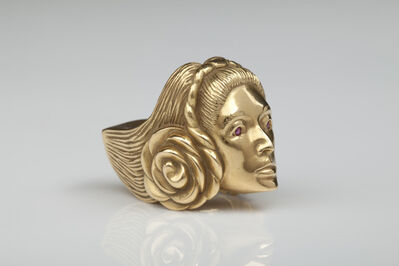 "Marisol, '""Self-portrait"" gold figural ring', 1973"