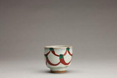 Shinsaku Hamada, 'Chawan, white glaze with akae decoration'
