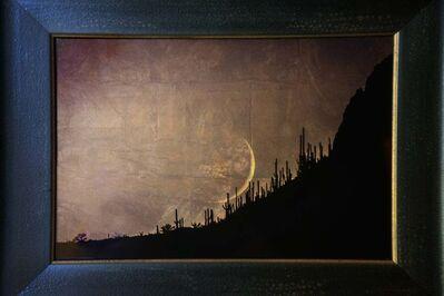 Kate Breakey, 'Moon Setting Over Saguaros, Arizona '