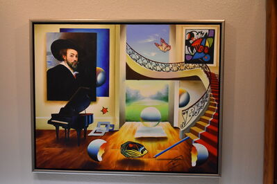 Ferjo, 'Room with Grand Master - Original oil on canvas painting by Ferjo', 2004