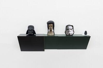 Haim Steinbach, 'Untitled (cookie jar, Jamaican head, Stormtrooper, dog chew)', 2016