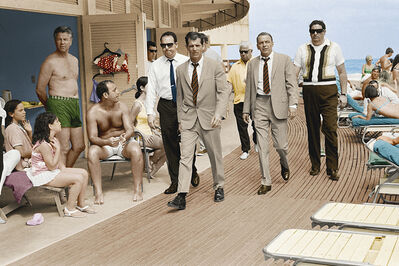 Terry O'Neill, 'Frank Sinatra with Body Double and security team, Boardwalk, Miami Beach (colorized version)', 1967