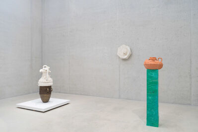 Nicole Cherubini, 'From left to right: Panel #1 and #2, 2014; Earth Pot #6, 2014; RED POT, 2014'