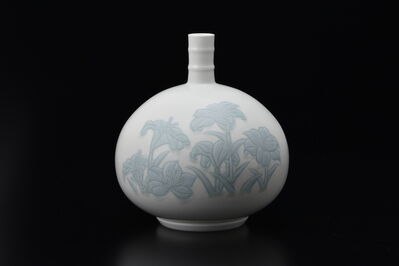 Manji Inoue, 'Engraved Lily Vase with Yellow-Green Glaze', 2019