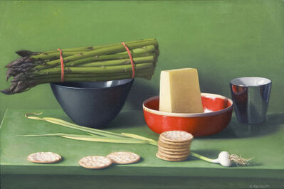Amy Weiskopf, 'Still Life with Asparagus, Pecorino and Crackers'