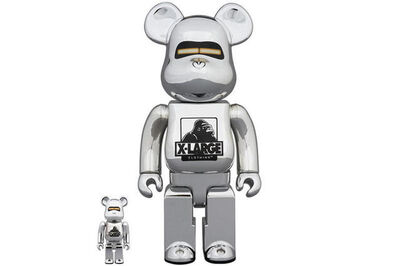 Medicom Toy, 'BE@RBRICK X HAJIME SORAYAMA X XLARGE 400% and 100% (Silver)', 2018