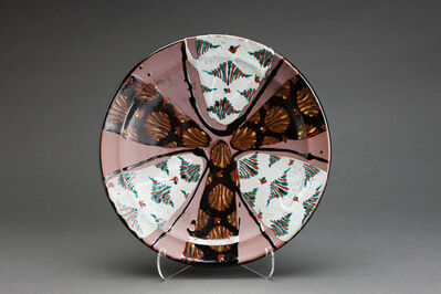Tomoo Hamada, 'Plate, black and white glazes with akae decoration'