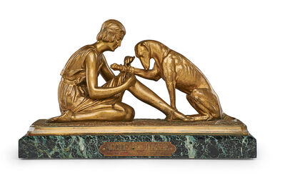 """Demetre Chiparus, 'Art Deco sculpture of a woman with a greyhound, """"The Hunting Accident (Accident de Chasse),"""" France'"""