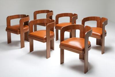 Marzio Cecchi, 'Set of 7 Marzio Cecchi Postmodern Dining Chairs in Walnut and Cognac Leather, 1970s', 1970s