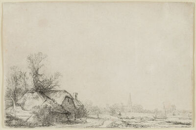 Rembrandt van Rijn, 'Cottage Beside a Canal With a View of Ouderkerk', ca. 1641