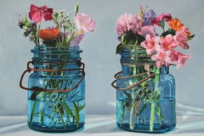 Peggie Blizard, 'Two Blue Jars with Pink Flowers'