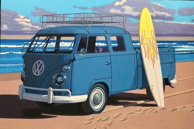 "Rob Brooks, '""Secret Spot"" Photorealistic oil painting of a blue vintage Volkswagen pickup truck on the beach with surfboard', 2019"