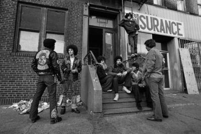 Henri Dauman, 'The Savage Nomads, a Bronx gang, talking to a NY Detective', 1967