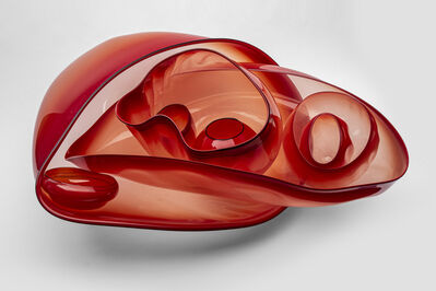 Dale Chihuly, 'Dale Chihuly Chihuly Cadmium Red Orange Basket Set with Black Lip Wraps Original Handblown Glass Signed Contemporary Art', 1993
