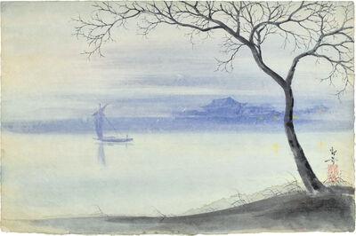 Kakunen Tsuruoka, 'tree at shoreline with passing sailboat', n.d.-ca. late ca. 1942