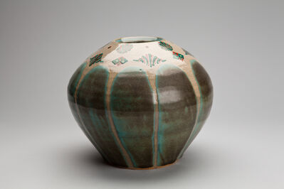 Tomoo Hamada, 'Vase, celadon glaze with akae decoration', 2012