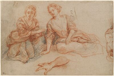 Charles de La Fosse, 'Two Young Women Seated on the Ground [recto]', ca. 1698