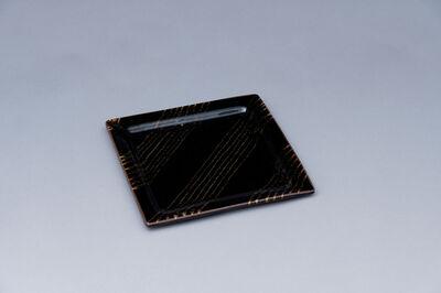 Yoshinori Hagiwara, 'Square plate, black glaze', 2020