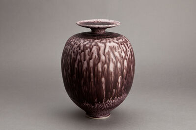 Brother Thomas Bezanson, 'Vase, dark red textured nickel glaze'