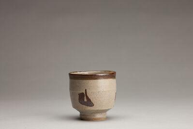 Shinsaku Hamada, 'Chawan, ji glaze with tensue decoration'