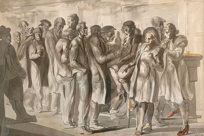 Reginald Marsh, 'Men and Women at Yellow Bar  Chinese', 1946