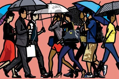 Julian Opie, 'Walking in the rain, Seoul ', 2015