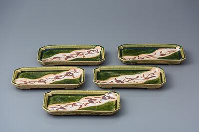 Ken Matsuzaki, 'Rectangular plate, oribe glaze (set of 5)', 2018