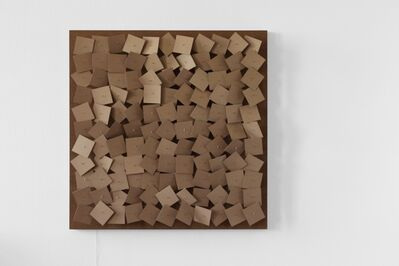Zimoun, '121 prepared dc-motors, cardboard elements 8x8cm', 2011