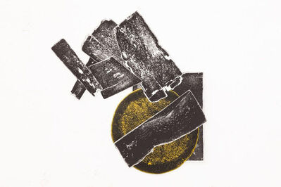 El Anatsui, 'Untitled (black and white with gold disc)', 2016
