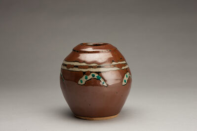Shinsaku Hamada, 'Vase, kaki glaze with akae decoration'