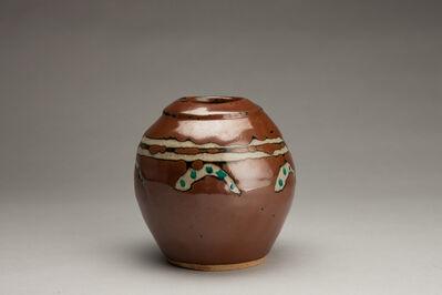 Shinsaku Hamada, 'Vase, kaki glaze with akae decoration'