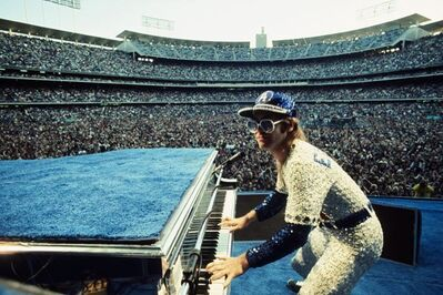 Terry O'Neill, 'Elton John Dodger Stadium, Playing Piano', 1975