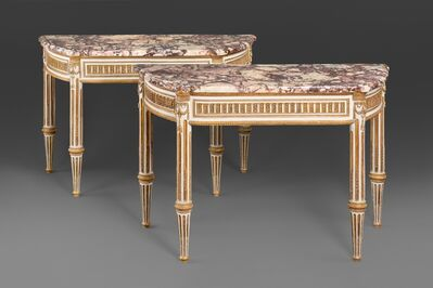 Unknown Italian, 'A pair of Italian Royal Louis XVI lacca and gilt wood console tables with breccia di Vituliano marble tops.', ca. 1790