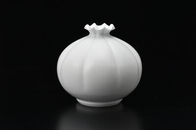 Manji Inoue, 'Engraved Hakuji (white porcelain) Chrysanthemum Vase 02', 2019