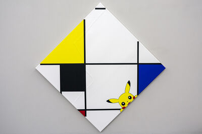 Michael Pybus, 'Lozenge Composition with Pikachu, Black, Blue and Red', 2018