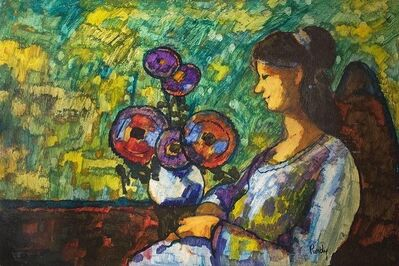 Donald Roy Purdy, 'Modernist Woman With Flowers in Interior', 20th Century