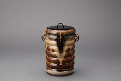 Miraku Kamei XV, 'Water container (mizusashi) with lacquer lid, shippo design handles, and sendanmaki incising', 2014