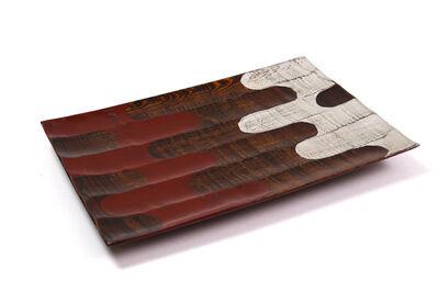Tohru Matsuzaki, 'Chestnut silver and vermilion lacquer ridged tray with legs', 2017