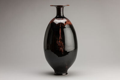 Brother Thomas Bezanson, 'Vase, mirror black glaze with partridge feathers shoulder', n/a