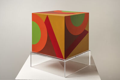 Karl Benjamin, 'untitled cube (camel background VC)', 1984