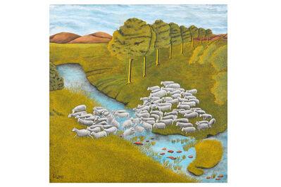 James Lloyd, 'Sheep crossing a river'