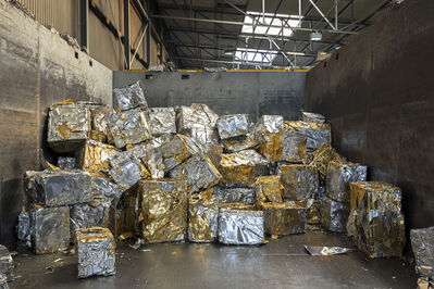 Paul Bulteel, 'Blocks of compressed aluminum scrap. Each block weighs approximately 200 kg and contains a small quantity of gold-colored lacquer typically used for beer can covers. In a specific recycling smelter, the lacquer is burnt and the molten aluminum is cast into new blocks that can be used to produce new cans, among other things.'