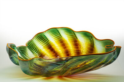 Dale Chihuly, 'Dale Chihuly Original Large Fade Green Seaform with Orange Lip Wrap Contemporary Glass Art ', 1992