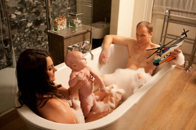 Alison Jackson, 'Kate, Wills, and Baby in Bath'