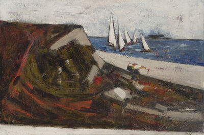 Viola Frey, 'Coastal with sailboats'